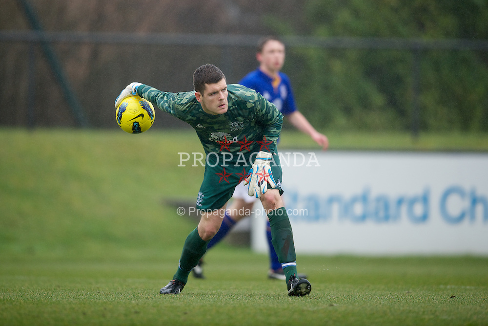KIRKBY, ENGLAND - Friday, February 24, 2012: Everton's goalkeeper Conor Roberts in action against Liverpool during the FA Premier League Academy match at the Kirkby Academy. (Pic by David Rawcliffe/Propaganda)