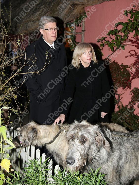 HE Mr Valdis Zatlers, the President of Latvia, and his wife, Mrs Lilita Zatlers,  meet Irish Wolfhounds during a visit to Bunratty Castle and Folk Park in Co Clare.Pic Arthur Ellis/Press22.