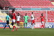 Swindon Keshi Anderson (30) scores and celebrates his goal 2-0 first half during the EFL Sky Bet League 2 match between Swindon Town and Accrington Stanley at the County Ground, Swindon, England on 5 May 2018. Picture by Gary Learmonth.