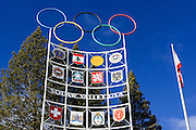 Olympic flags and rings, Squaw Valley, California