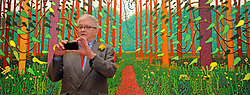 © Licensed to London News Pictures. 16/01/2012, London, UK. Artist DAVID HOCKNEY uses an iPhone to take a picture of the assembled press whilst he poses with his painting The Arrival Of Spring In Woldgate, East Yorkshire in 2011. The Royal Academy of Arts will showcase the first major exhibition of new landscape works by David Hockney RA. Featuring vivid paintings inspired by the East Yorkshire landscape, these large-scale works have been created especially for the galleries at the Royal Academy of Arts. The exhibition runs from Saturday 21 January – Monday 9 April 2012.  Photo credit : Stephen Simpson/LNP