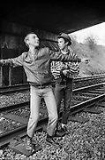 Edema and Symond on the Railway Line, High Wycombe, UK, 1980s.