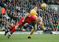 Paul McVeigh and Jay Demerit.<br /> Norwich City v Watford, Cocal Cola Championship, 21/01/06. Photo by Barry Bland
