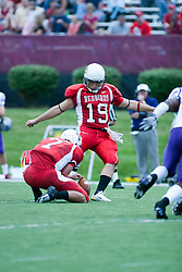 09 September 2006  Redbird kicker Bobby Kelsey lifts one off for 3 points..In Illinois State's home opener, the Redbirds downed the Central Arkansas Bears by a score of 18-3..Game action took place at Hancock Stadium on the campus of Illinois State University in Normal Illinois.