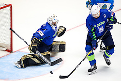 Matija Pintaric of Slovenia and Sabahudi Kovacevic of Slovenia during ice hockey match between Slovenia and Kazakhstan at IIHF World Championship DIV. I Group A Kazakhstan 2019, on April 29, 2019 in Barys Arena, Nur-Sultan, Kazakhstan. Photo by Matic Klansek Velej / Sportida