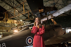 © Licensed to London News Pictures. 21/11/2018. London, UK.  <br /> TV presenter and Strictly Come Dancing star Katie Piper poses for a photograph in front of a RAF SE5a aircraft in the Royal Air Force Museum London to launch the National Lottery's Thanks To You campaign in London, England on November 21, 2018. The Thanks To You promotion which runs from December 3 until December 9 sees venues, which have received Lottery funding, offering free offers and/or free entry to people in possession of a National Lottery ticket. Some of the UK's best-loved venues will be taking part, including: the Natural History Museum, Science Museum, Kew Gardens, Eden Project, Jodrell Bank, the National Railway Museum, V&A Dundee, National Museum Wales and over 100 National Trust sites.  Photo credit: Oli Scarff/LNP