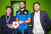 Forest Green Rovers Aarran Racine(21) presents the match ball sponsors, Grundon with a match ball  during the Vanarama National League match between Forest Green Rovers and Aldershot Town at the New Lawn, Forest Green, United Kingdom on 5 November 2016. Photo by Shane Healey.