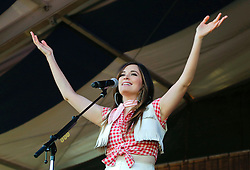 03 May 2015. New Orleans, Louisiana.<br /> The New Orleans Jazz and Heritage Festival. <br /> Kacey Musgraves plays Fais Do-Do stage.<br /> Photo; Charlie Varley/varleypix.com