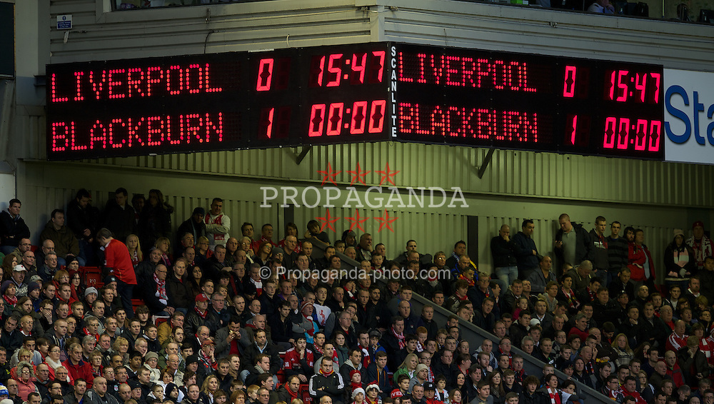 LIVERPOOL, ENGLAND - Boxing Day Monday, December 26, 2011: Liverpool scoreboard records their 1-0 deficit at half-time against Blackburn Rovers during the Premiership match at Anfield. (Pic by David Rawcliffe/Propaganda)