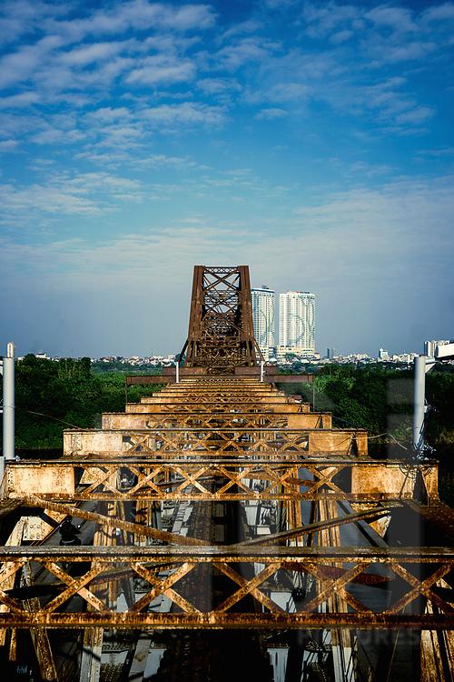 Long Bien Bridge architecture, Hanoi, Vietnam, Southeast Asia