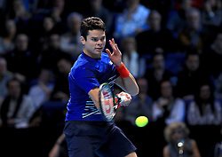 Milos Raonic in his match against Andy Murray during day seven of the Barclays ATP World Tour Finals at The O2, London. PRESS ASSOCIATION Photo. Picture date: Saturday November 19, 2016. See PA story TENNIS London. Photo credit should read: Adam Davy/PA Wire. RESTRICTIONS: Editorial use only, No commercial use without prior permission