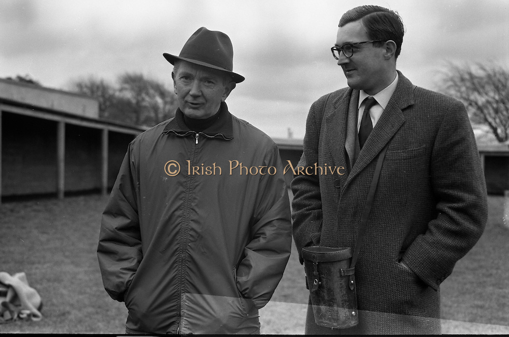 """Vincent O'Brien with 'Sir Ivor' at O'Brien Stables, Cashel. """"Sir Ivor' was owned by American businessman and U.S. Ambassador to Ireland, Raymond R. Guest. The horse was named for his British grandfather, Sir Ivor Guest, 1st Baron Wimborne.' Sir Ivor' won three races in 1967, the Grand Criterium at Longchamp and the National Stables and the Probationers State at the Curragh. .11.03.1968"""