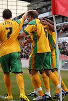 Photo: Paul Greenwood/Sportsbeat Images.<br />Stoke City v Norwich City. Coca Cola Championship. 01/12/2007.<br />Norwich City players mob goalscorer Darren Huckerby (c)