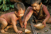 South America, Venezuela, Guiana Highlands. Hoti Indians. Young children playing.
