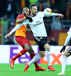 February 14, 2019 - Istanbul, Turkey - Benfica's Haris Seferovic (L) fights for the ball with Galatasaray's defender Marcao during the UEFA Europa League round of 32 first leg football match between Galatasaray AS and SL Benfica at the Turk Telekom stadium, in Istanbul, on February 14, 2019. (Credit Image: © Mahmut Burak Burkuk/Depo Photos via ZUMA Wire)