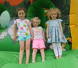 Emma and Aoife Larkin with Caoimhe Synott enjoying the bouncy castle at Westport Leisure Park&rsquo;s &lsquo;Last Man Running&rsquo; event which took place on the Westport greenway on saturday last<br /> Pic Conor McKeown