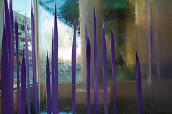 North America, United States, Washington, Bellevue, water wall with purple glass sculpture in Lincoln Square