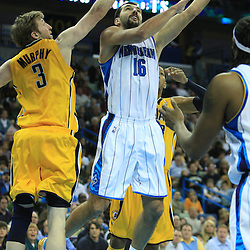 19 January 2009:  New Orleans Hornets forward Peja Stojakovic (16) shoots over Indiana Pacers forward Troy Murphy (3) during a NBA regular season game between the Indiana Pacers and the New Orleans Hornets at the New Orleans Arena in New Orleans, LA. .
