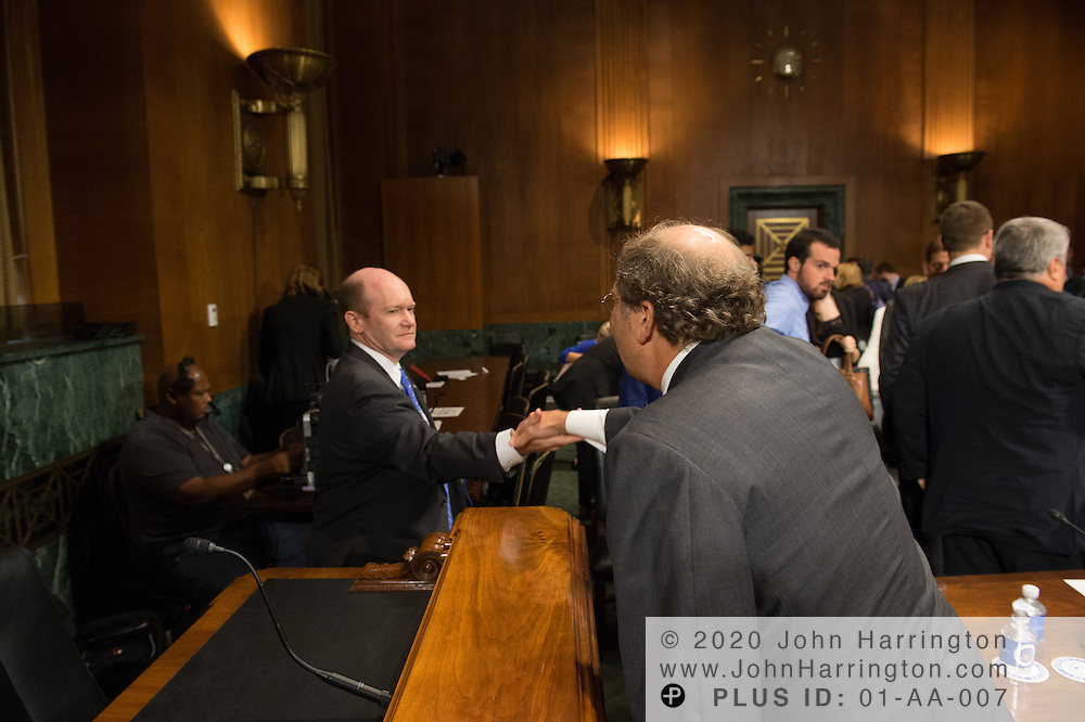 "Mr. Paul Rosenzweig greets Sen. Koons Wednesday September 14, 2016, before the Subcommittee on Oversight, Agency Action, Federal Rights and Federal Courts, testimony was also heard from The Honorable Lawrence E. Strickling, Assistant Secretary for Communications and Information and Administrator<br /> National Telecommunications and Information Administration (NTIA), United States Department of Commerce;  Mr. Göran Marby, CEO and President, Internet Corporation for Assigned Names and Numbers (ICANN); Mr. Berin Szoka, President, TechFreedom; Mr. Jonathan Zuck, President, ACT The App Association;  Ms. Dawn Grove, Corporate Counsel<br /> Karsten Manufacturing; Ms. J. Beckwith (""Becky"") Burr, Deputy General Counsel and Chief Privacy Officer, Neustar;  Mr. John Horton, President and CEO, LegitScript;  Mr. Steve DelBianco, Executive Director, NetChoice; Mr. Paul Rosenzweig, Former Deputy Assistant Secretary for Policy, U.S. Department of Homeland Security."