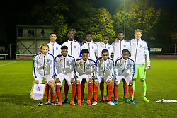 BANGOR, WALES - Saturday, November 12, 2016: England players line up for a team group photograph before the UEFA European Under-19 Championship Qualifying Round Group 6 match against England at the Nantporth Stadium.Back row L-R: Trent Alexander-Arnold, Trevoh Chalobah, xxxx, Ryan Sessegnon, xxxx, goalkeeper Aaron Christopher Ramsdale. Front row L-R: captain Tom Davies, Dujon Sterling, xxxx, xxxx, xxxx. (Pic by Gavin Trafford/Propaganda)