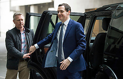 ©  London News Pictures. 13/03/2016. London, UK. British Chancellor GEORGE OSBORNE arrives at BBC Broadcasting House  to appear on The Andrew Marr Show on BBC One. Photo credit: Ben Cawthra/LNP