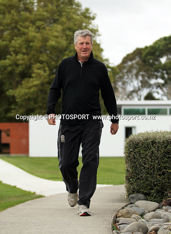John Wright, walks to the press conference to announce he is not re-signing with the Black Caps as their head coach. New Zealand Cricket headquarters, Lincoln University, Christchurch Tuesday 1 May 2012. Photo: Joseph Johnson/www.photosport.co.nz