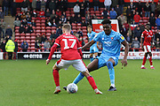 James Hardy and Rohan Ince   during the EFL Sky Bet League 2 match between Walsall and Cheltenham Town at the Banks's Stadium, Walsall, England on 19 October 2019.