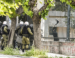 May 1, 2019 - Athens, Greece - Clashes take place in National technical university of Î'thens (NTUA), on 1 May 2019 between riot police and anarchists following the May Day rally. (Credit Image: © Dimitris Lampropoulos/NurPhoto via ZUMA Press)