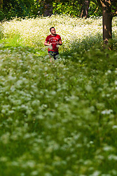 Regent's Park, London, May 17th 2014. A runner makes his way through the wildflowers and dappled sunshine  in London's Regent's Park