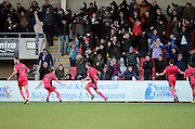 Connor Essam celebrates scoring during the The FA Cup match between Cheltenham Town and Dover Athletic at Whaddon Road, Cheltenham, England on 7 December 2014.