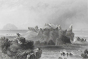 Engraving of Ailsa Craig from Turnbury Castle, Firth of Clyde, Scotland drawn by W H Bartlett