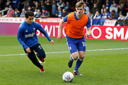 Ipswich Town defender Callum Connolly (16) warms up before kick off during the EFL Sky Bet Championship match between Brentford and Ipswich Town at Griffin Park, London, England on 7 April 2018. Picture by Andy Walter.