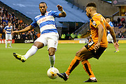 Matt Phillips attempts to block Scott Golbourne pass during the Sky Bet Championship match between Wolverhampton Wanderers and Queens Park Rangers at Molineux, Wolverhampton, England on 19 August 2015. Photo by Alan Franklin.