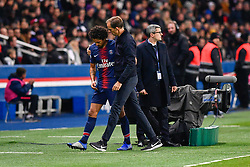 November 2, 2018 - Paris, Ile-de-France, France - Marquinhos #5 and his coach Thomas Tuchel during the french Ligue 1 match between Paris Saint-Germain (PSG) and Lille (LOSC) at Parc des Princes stadium on November 2, 2018 in Paris, France. (Credit Image: © Julien Mattia/NurPhoto via ZUMA Press)