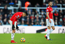 Alexis Sanchez of Manchester United reacts in frustration - Mandatory by-line: Matt McNulty/JMP - 11/02/2018 - FOOTBALL - St James Park - Newcastle upon Tyne, England - Newcastle United v Manchester United - Premier League
