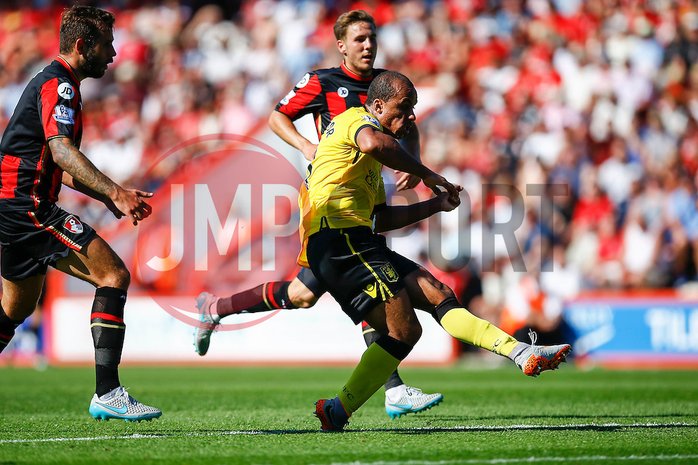 Gabriel Agbonlahor of Aston Villa shot is blocked - Mandatory by-line: Jason Brown/JMP - Mobile 07966 386802 08/08/2015 - FOOTBALL - Bournemouth, Vitality Stadium - AFC Bournemouth v Aston Villa - Barclays Premier League - Season opener