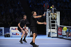 November 13, 2017 - London, United Kingdom - Jamie Murray of Great Britain and Bruno Soares of Brazil in action in the Doubles match during day two of the Nitto ATP World Tour Finals at O2 Arena, London on November 13, 2017. (Credit Image: © Alberto Pezzali/NurPhoto via ZUMA Press)