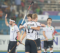 RAIPUR (India) - Christopher Rühr (Dui.) scored and celebrates with Tobias Hauke (Dui.)   Match for place 7/8 Hockey World League Final  men . GERMANY v CANADA   © WSP / Koen Suyk