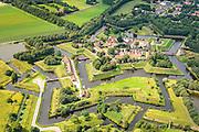 Nederland, Groningen, Gemeente Vlagtwedde, 27-08-2013. Vesting Boertange, vestingdorp in de streek Westerwolde. De vesting is gebouwd tijdens de Opstand (de Tachtigjarige Oorlog). De vestingwerken zijn  volledig gereconstrueerd en vormen een belangrijke toeristische attractie.<br /> Boertange, fortified village (near Border with Germany). The fortress was built during the uprising (the Eighty Years' War), the fortifications are fully reconstructed and now are a major tourist attraction.<br /> luchtfoto (toeslag op standaard tarieven);<br /> aerial photo (additional fee required);<br /> copyright foto/photo Siebe Swart.