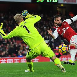 Olivier Giroud of Arsenal scores his second goal during Arsenal vs Huddersfield, Premier League, 29.11.17 (c) Harriet Lander | SportPix.org.uk