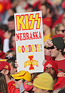 November 06 2010: An Iowa State fan holds up a sign during the first half of the NCAA football game between the Nebraska Cornhuskers and the Iowa State Cyclones at Jack Trice Stadium in Ames, Iowa on Saturday November 6, 2010. Nebraska defeated Iowa State 31-30.