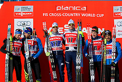 Second placed, Renaud Jay/Baptiste Gros (FRA), winner Dietmar Noeckler/Frederico Pellegrino (ITA) and third placed Valentin Chauvin/Richard Jouve during flower ceremony after the Man team sprint race at FIS Cross Country World Cup Planica 2016, on January 17, 2016 at Planica, Slovenia. Photo By Urban Urbanc / Sportida