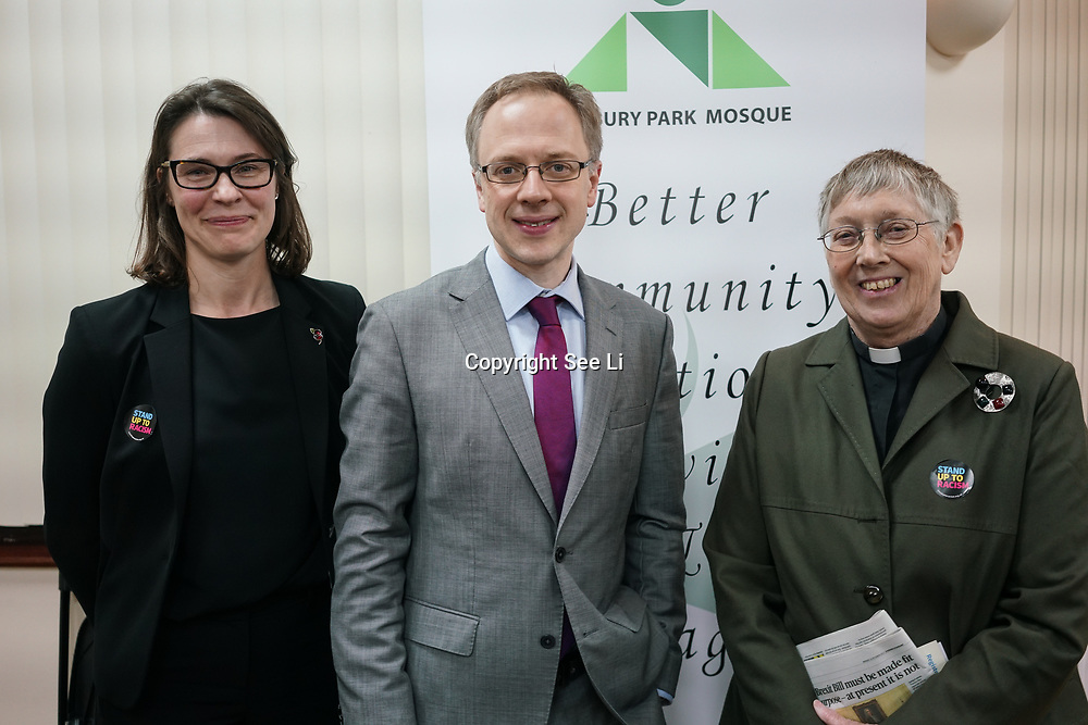 London, Uk. 15th October 2017. Treena Fleming – Detective Superintendent of Islington, Richards Watts – Leader of Islington Council and Rev. Jennifer Potter – Chair, Islington Faiths Forum join the discussion Hate Crime Against Muslim