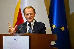 October 6, 2018 - Krakow, Poland - The President of European Council Donald Tusk speaks during the XVIII International Conference : ''The role of the Catholic Church in the process of European integration' (Credit Image: © Omar Marques/SOPA Images via ZUMA Wire)