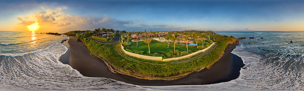 Spherical panorama captured from a kite over The Jiva Puri, a luxury estate in Cemagi, Bali.