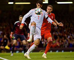 CARDIFF, WALES - Thursday, October 11, 2018: Spain's Álvaro Morata (L) and Wales' Chris Gunter during the International Friendly match between Wales and Spain at the Principality Stadium. (Pic by Lewis Mitchell/Propaganda)