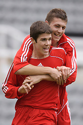 Newcastle, England - Saturday, March 10, 2007: Liverpool's two goal-scorers Craig Lindfield and Ryan Flynn (L) celebrate after Flynn scored the third goal against Newcastle United during the FA Youth Cup Semi Final 1st Leg at St James' Park. (Pic by David Rawcliffe/Propaganda)