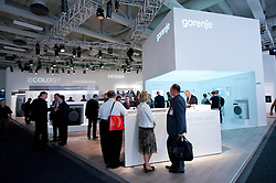 Gorenje consumer goods manufacturer stand at IFA consumer electronics trade fair in Berlin Germany 2011