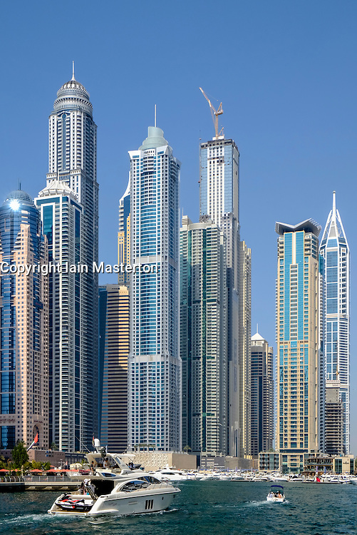Many apartment skyscrapers at Marina district in Dubai United Arab Emirates