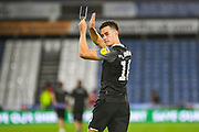 Tom Lawrence of Derby County (10) celebrates the win during the EFL Sky Bet Championship match between Huddersfield Town and Derby County at the John Smiths Stadium, Huddersfield, England on 5 August 2019.